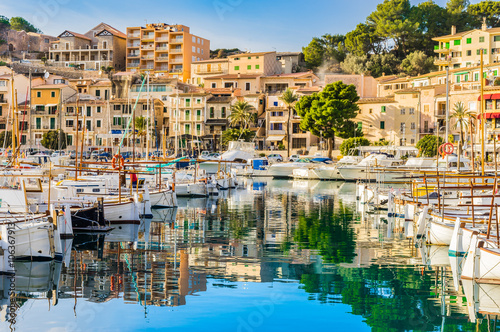 Fotografia, Obraz  View of port Soller coast with moored boats Majorca Spain