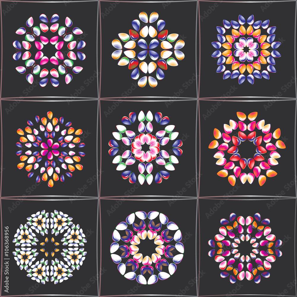 A set of circular ornaments. Mosaic of stylized rocks. Folk stylization. Vector Eps10 comfortable editing.