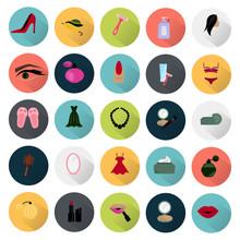 Set Of Twenty Five Color Beauty And Fasion Icons