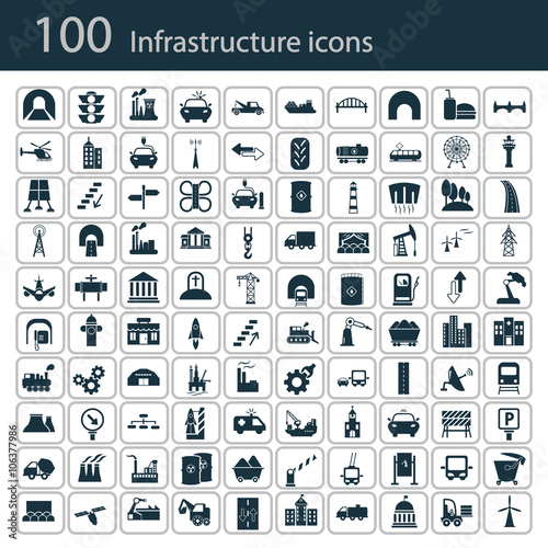 Fotografía  Set of one hundred industry and infrastructure icons