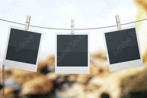 Fotografie, Obraz  Polaroids on landscape