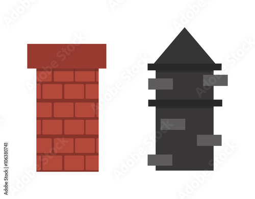 Valokuvatapetti Two old red brown brick chimney roof architecture top smoke vector