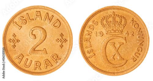 Photo  2 aurar 1942 coin isolated on white background, Iceland
