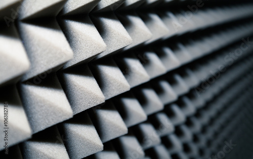 Valokuva  Dampening acoustical foam on recording studio wall
