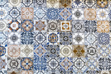 Collage of different floor tiles with various designs, floor tile pattern background - 106382998