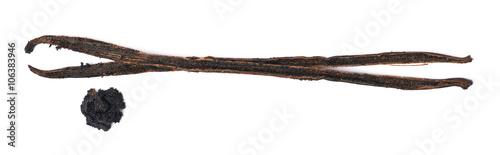 Foto op Plexiglas Indonesië Dried vanilla pod fruit isolated