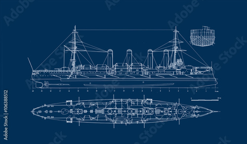 Photo  Built in 1903 old armored cruiser blueprint