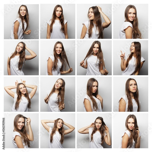 Photo  collage of woman different facial expressions