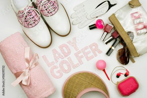 Obraz na plátně  Flat Lay Golf Grupage Lady Golfer
