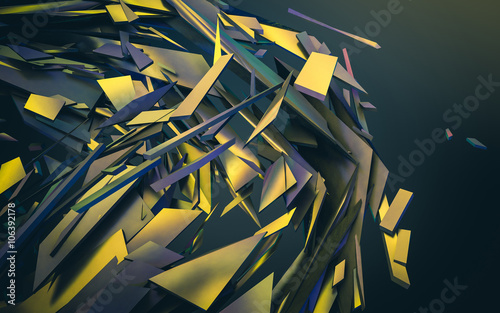 Abstract 3d rendering of chaotic structure. - 106392178