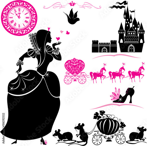 Fotografie, Obraz  Fairytale Set - silhouettes of Cinderella, Pumpkin carriage with