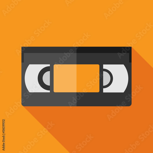 Valokuva  videotape icon with long shadow. flat style vector illustration