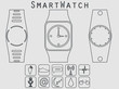 Smart watch, fitness tracker. Icon from the geometric lines. Vector.