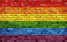 Gay Pride Flag On A Brick Wall - Illustration,   Rainbow Flag On Brick Textured Background,  Flag Of Gay Pride Movement Painted On Brick Wall, Gay And Transgender Comminity In Brick Style