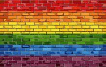 Gay Pride Flag On A Brick Wall...