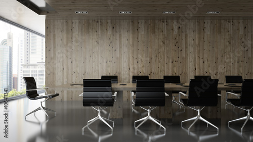 Fotografia, Obraz  Interior of  boardroom with wooden wall 3D rendering