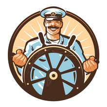 Ship Captain Vector Logo. Cruise, Journey, Tour, Trip Or Travel Icon