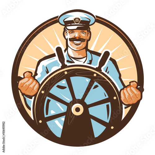 Fotografía ship captain vector logo