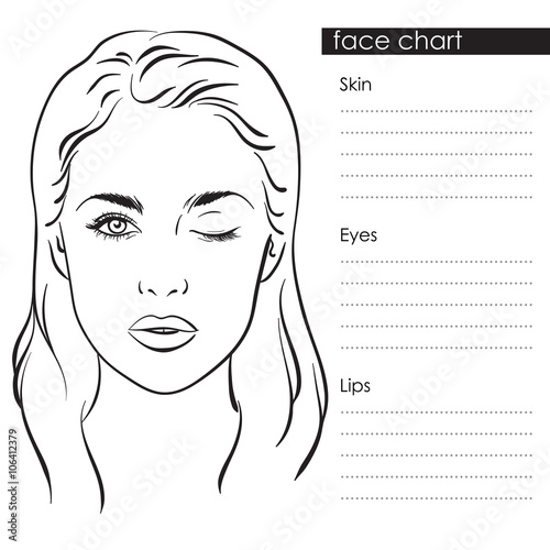 Beautiful Woman With One Eye Closed Face Chart Makeup Artist Blank