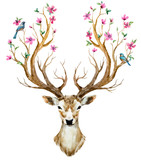 Watercolor hand drawn deer - 106413536