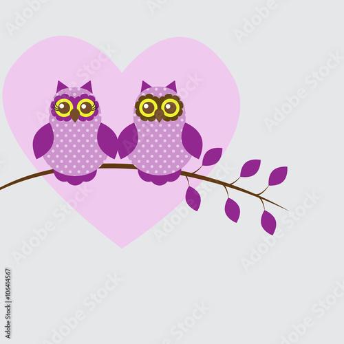 Canvas Prints Owls cartoon Vector postcard frame on the romantic theme.