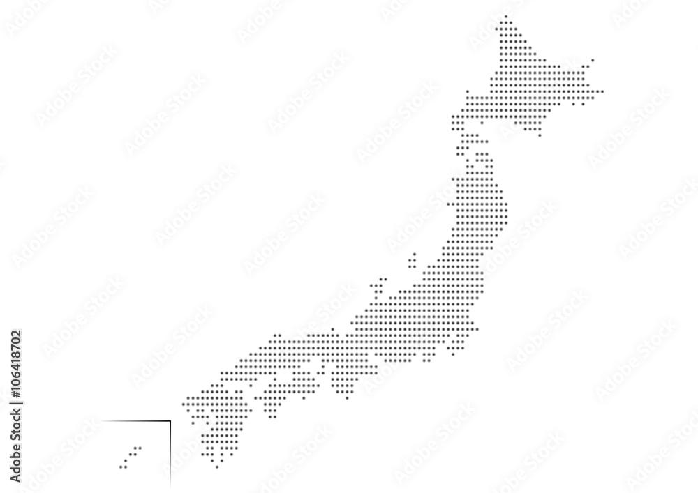 Japonia mapowania kropki ilustracyjna czarna gradacja <span>plik: #106418702 | autor: osame</span>
