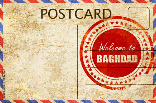 Fotografija  Vintage postcard Welcome to baghdad