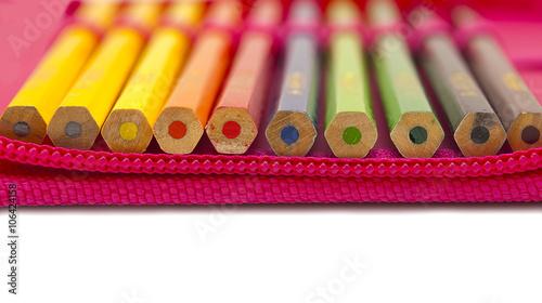 Cuadros en Lienzo Colored pencils in a pencil case