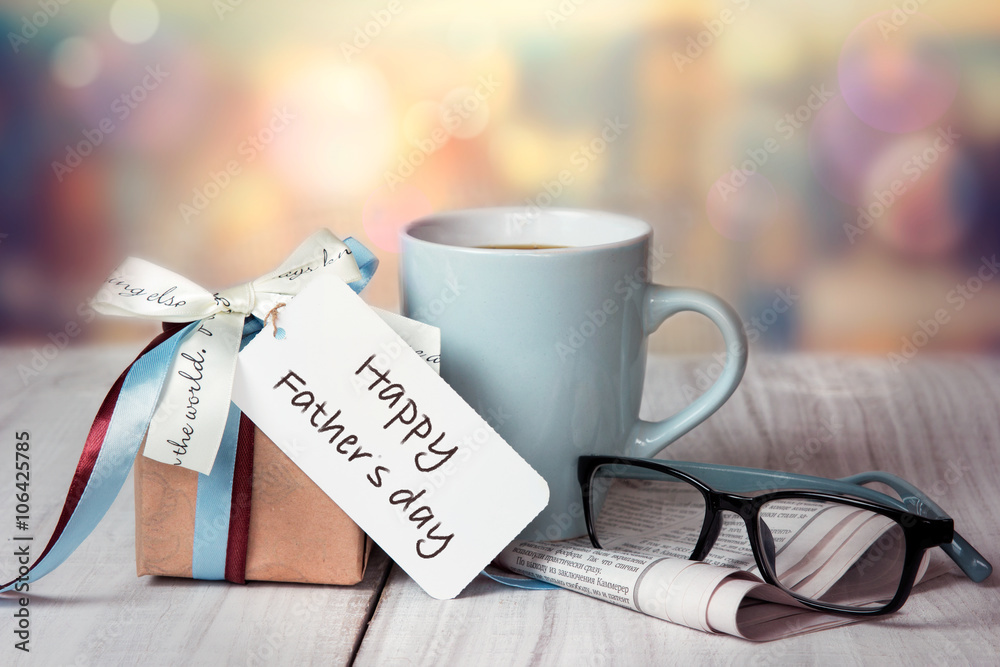 Fototapety, obrazy: Father's day holiday greeting card.Present box mug.