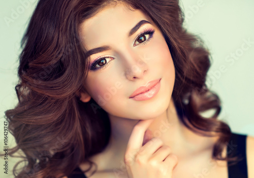 Stampa su Tela Beautiful girl light brown hair with an elegant hairstyle , hair wave ,curly hai