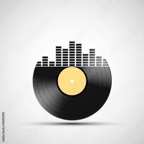 Fotografía  Icon vinyl record with a sound equalizer.