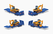 Yellow Excavator On The Blue Low-bed Trailer. 3D Lowpoly Isometric Vector Illustration. The Set Of Objects Isolated Against The White Background And Shown From Different Sides