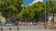 The famous Ramblas street timelapse with unidentified walking tourists in Barcelona, Spain