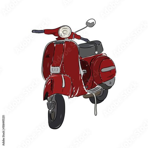 Deurstickers Fiets Red scooter, vector illustration
