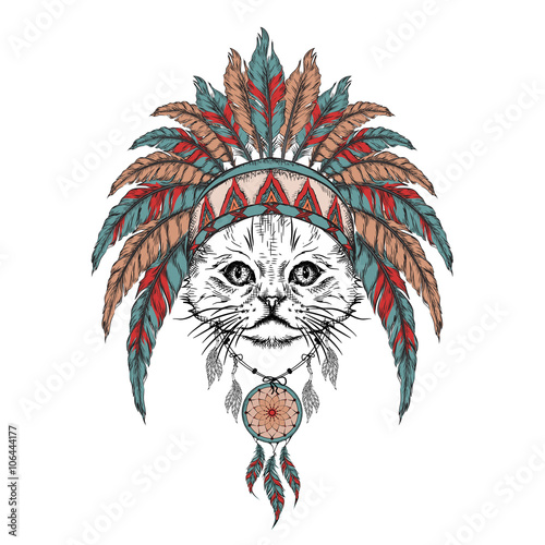 Wall Murals Hand drawn Sketch of animals Lion in the Indian roach. Indian feather headdress of eagle. Hand draw vector illustration