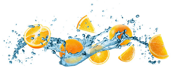 Fototapetawater splash with oranges on the white background