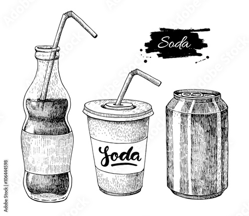 Fotografía  Vector soda drawing. Hand drawn soda illustrations.