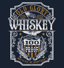 Vintage Americana Whiskey Label T-shirt Graphic