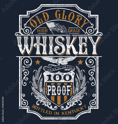 Photo  Vintage Americana Whiskey Label T-shirt Graphic