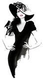 Moda kobieta model z czarnym kapeluszem - 106454326