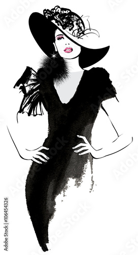 Door stickers Art Studio Fashion woman model with a black hat
