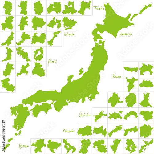 Prefektura mapy Japonii napisana odręcznie
