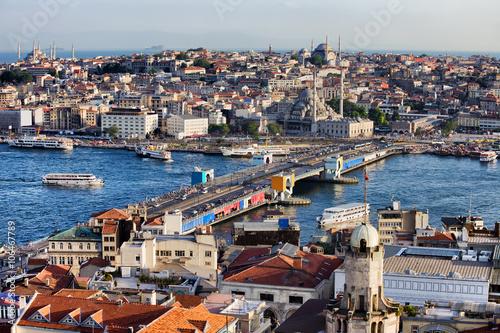 In de dag Mediterraans Europa City of Istanbul Cityscape in Turkey