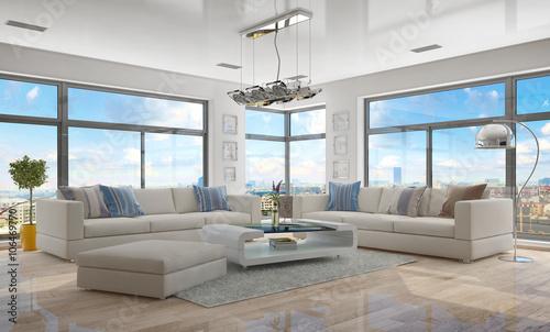 moderne penthouse wohnung, moderne, luxuriöse penthouse wohnung mit einem wohnzimmer. - buy, Design ideen