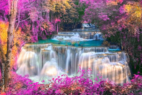 Foto auf AluDibond Wasserfalle Huai Mae Khamin Waterfall