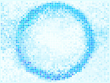 Round Square Pixel Mosaic Vector Banner. Abstract Lights