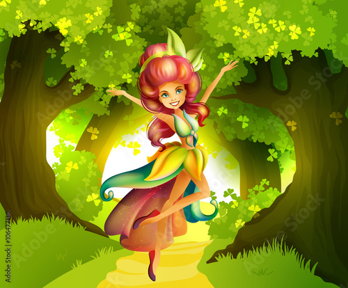 fototapeta na drzwi i meble Fairy in front of the forest