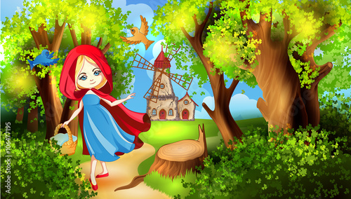 fototapeta na drzwi i meble Red Riding Hood on the forest path