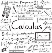 Calculus Law Theory And Mathematical Formula Equation Doodle Handwriting Icon In White Isolated Paper Background With Hand Drawn Model For Education Presentation Or Subject Title, Create By Vector