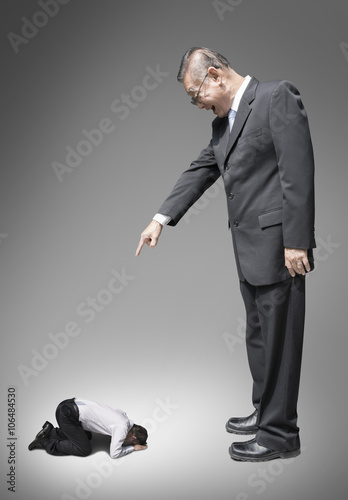 abuse and bully business man , boss and subordinate Canvas Print